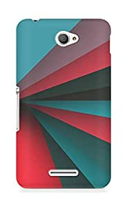 Amez designer printed 3d premium high quality back case cover for Sony Xperia E4 (Rainbow red blue pattern)