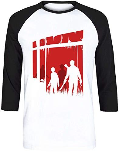 Zuletzt Menschen Unisex Herren Damen Weiß Baseball T-Shirt 3/4 Ärmel | Unisex Men's Women's Baseball T-Shirt (Us Of Clicker The Last)