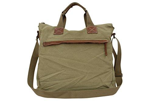 AMBRA Moda Handtaschen, Schultasche, Schultertasche,Umhängetasche, Wochende Tasche, Aktentasche, Canvas Echtleder Tasche CL925 Hellkhaki