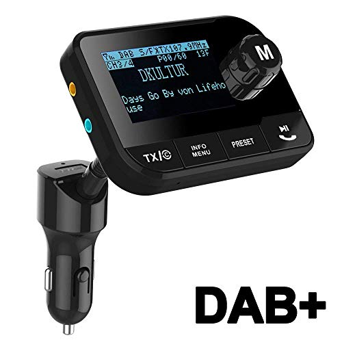 Uekars Auto DAB+ Radio Adapter, DAB Transmitter FM Bluetooth Mit Freisprechanruf Digital DAB+ Audio Adapter 2.3