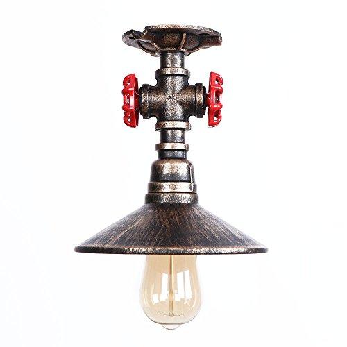 Bronze Flush Mount Decke Licht (SOLUCKY Industrial Vintage Pendant Light Semi Flush Mount Beleuchtung Dekoration Haus 1 Lampe Decke Hell Bronze Und Schwarz,Bronze)