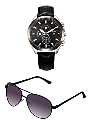Cafuer Chronograph Look with Date Calendar Analogue Black Dial Mens Watch & BIG Tree Heather Purple Color - Gradient UV Protected Aviator Sunglasses Goggles Combo Set