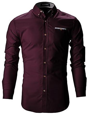 FLATSEVEN Herren Slim Fit Casual Business Hemden mit Karierte Tasche (SH131) Wein, S
