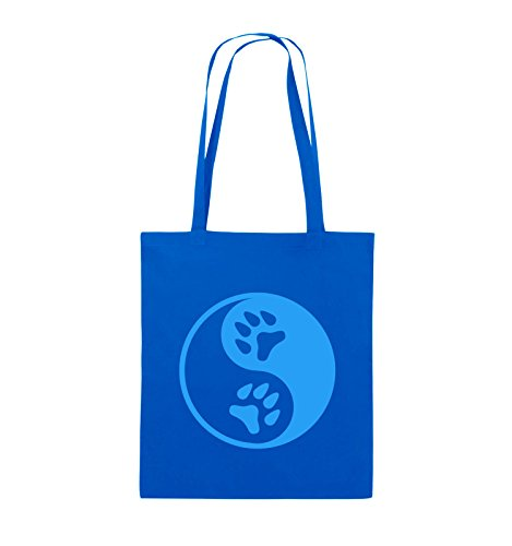 Comedy Bags - YING YANG - PFOTE2 - Jutebeutel - lange Henkel - 38x42cm - Farbe: Schwarz / Silber Royalblau / Blau