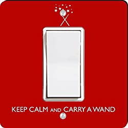 Rikki Knight Keep Calm and Carry a Wand Single Rocker Light Switch Plate, Red