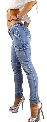 Damen Skinny Blue Jeans Hose Cargo, Größe:S-Maße beachten, Farbe:Blau (Damen Cargo-stil Jeans)