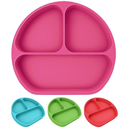 Teller mit Saugfuß und Fächern für Babys und Kinder aus Silikon, rutschfest, bruchsicher, spülmaschinengeeignet, Silikonteller mit Unterteilung und Ansaugfunktion, Babyschale mit Saugnapf (Pink)