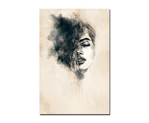 120x60cm - Fotodruck auf Leinwand und Rahmen Handmalerei Frau Gesicht abstrakt - Leinwandbild auf Keilrahmen modern stilvoll - Bilder und Dekoration - Abstrakte Frau Gesicht