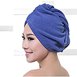 Blue : Kicode Microfiber Ultra Absorbent Twist Hair Turban Drying Cap Hair Wrap Cap(Blue