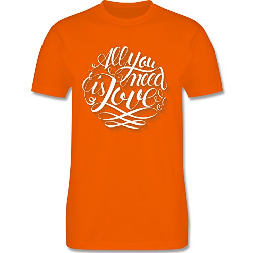 Statement Shirts - All you need is love Lettering - Herren Premium T-Shirt Orange
