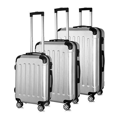 PRASACCO Reisekoffer Handgepäck Set 3 TLG.Für Flug Hartschalen Koffer Trolley TSA Ultraleicht ABS Anti-Kratzer Erweiterbar 4 Rollen (Silber)