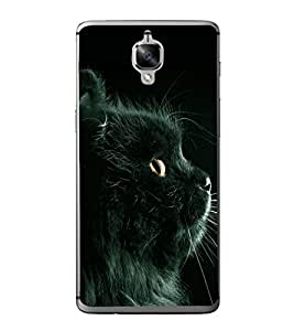 PrintVisa Designer Back Case Cover for OnePlus 3 :: OnePlus Three :: One Plus 3 (Black Cat With Black Background)