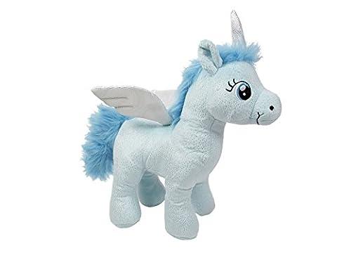 Peluche Licorne doudou nounours drôle doux idée cadeau noel anniversaire enfant fille garçon Douce Mignon avec des ailes tout doux à câliner craquant Doté d'un pouvoir magique, choisir:P440003 bleu