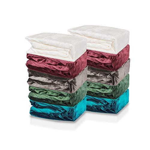 Jersey Plüsch Qualität, 2er Sparpack Kinder Spannbettlaken für Kindermatratze 60x120-70x140, ÖKO Tex Geprüftes Spannbetttuch (weiß, 2er Sparpack)