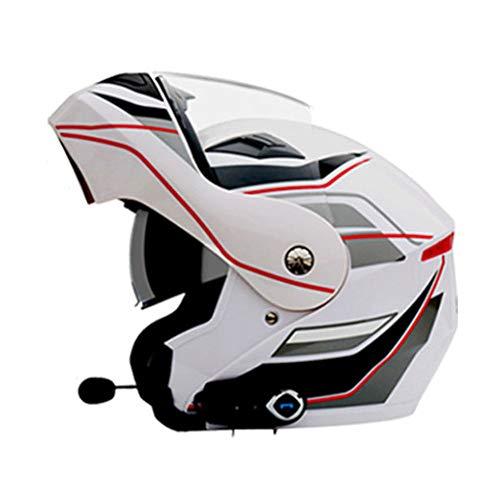 Ysh yshmotocicletta moto caschi bluetooth modulari flip-up bluetooth touring caschi doppia lente nuovi colori,whitenumber5flower-xl(61-62cm)