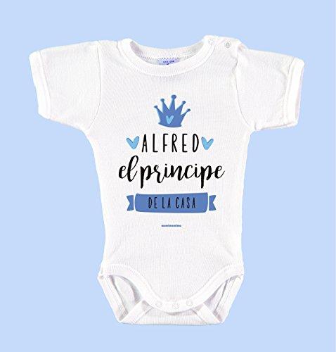 """Body Bebé Personalizado con Nombre 100% Algodón Orgánico""""Soy el príncipe de la casa"""" (12 mese, Azul)"""
