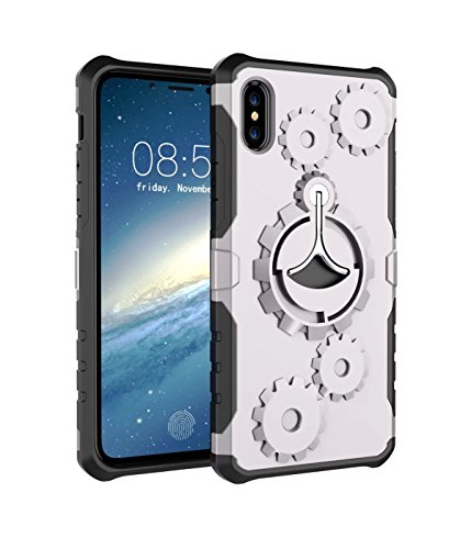 iPhone X Custodia, MOONMINI For iPhone X 3D Wheel Gear Rotating Stand 2 in 1 Hybrid Case Soft TPU Antiurto Protettiva Custodie Shell with Kickstand Silver