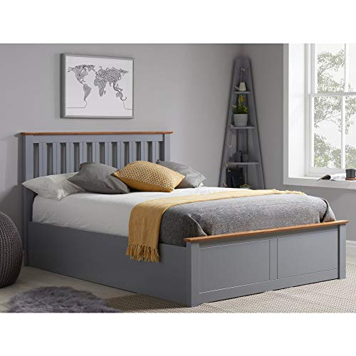 Grey Ottoman Storage Bed, Happy Beds Phoenix Stone Grey Wood Modern Bed - 4ft Small Double (120 x 190 cm) Frame Only