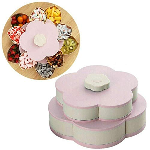AoJuy Snack Box Candy Dish Petal Rotating Dried Fruit Plate Bowls Snacks Storage Tray for Christmas Party Home Decor Flower Candy Dish