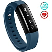Fitness Tracker, Mpow Heart Rate Monitor Waterproof for Swimming Activity Tracker Pedometer Smart Bracelet Wristband Sleep Monitor Smartwatch for Android and iOS Smartphones Like iPhone 7 6 Samsung, Blue