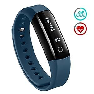 Mpow IP68 Wasserdichte Smart Fitness Armbänder mit Pulsmesser, OLED Bildschirm Herzfrequenz Monitor Schwimmsportuhr Aktivitätstracker Podometer für Android iOS Smartphones z.B. iPhone 7/7 Plus/6S/6/5/5S, Samsung S8/S7, Huawei, LG, Sony,Blau.
