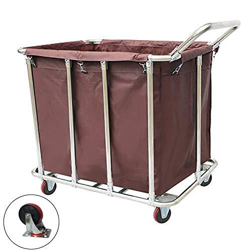 Unbekannt YXX-Wäschewagen Brown Wäsche Sorter Wagen mit Silent Rädern & Griff, Commercial Laundry-Center Leinen Auto mit Abnehmbarer Oxford-Stoff-Tasche (Size : Style-1)