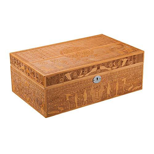 TTIK Unique Zigarren humidor aus Holz Hand geschnitzt mit Hygrometer und Befeuchtungssystem für ca. 75 Zigarren,360 × 230 × 130mm - Hand Geschnitzten Vergoldeten