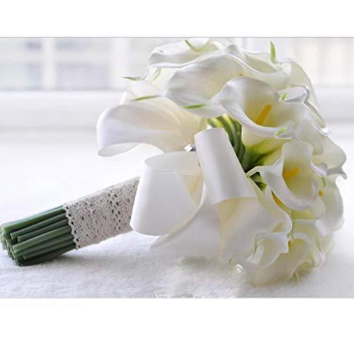 YUI Brautstrauß Handarbeit Callalilie Runde Braut Blumen Halten Geburtstag Party, White