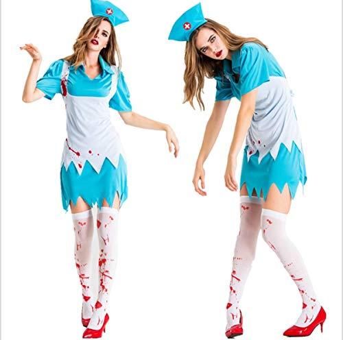 Weiblichen Tv Charaktere Kostüm - Zombie Horror Krankenschwester Anzug Mit Blut,