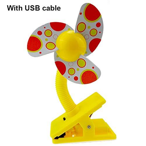HALXBYS Kinderwagen-Sicherheitszubehör 23 x11x5.5cm des niedlichen Klippventilators beweglicher Krippe Mit USB-Gelb (Reise-klapp-krippe)