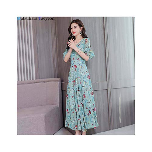 92748a5e6484c5 2019 Long Summer Floral Maxi Dress Women Flower Print Casual Split Beach  Dress Ladies Elegant Cotton