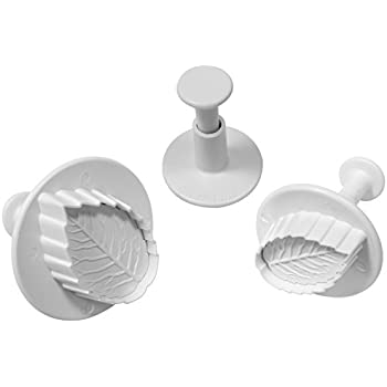 PME Veined Rose Leaf Plunger Cutters, Small, Medium and Large Sizes, Set of 3