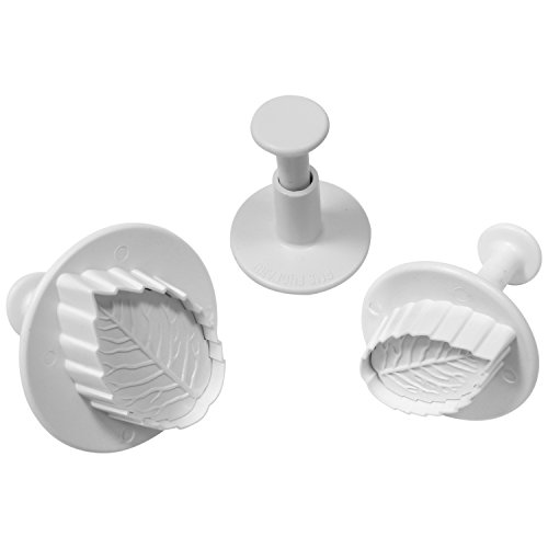 PME-Veined Rose Leaf pistone, plastica, Bianco, Set di 3
