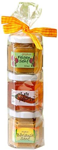 Senf Geschenkrolle - Feinkost Senf Geschenkset aus dem Allgäu - 2 x 50g Delikatesse Senf und 50g Chili-Paprika Gelee in Geschenkverpackung