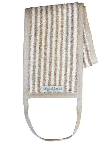 Dos Sangle Doux en Lin Naturel ARIA, 60% Lin, 40% Coton - Rayé (15 x 70cm)