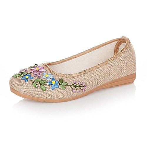 Frauen bestickte Schuhe Frühjahr Herbst Anti-Rutsch flache Schuhe ( Farbe : Beige , größe : US:5.5\UK:4.5\EUR:36 )