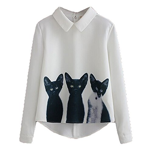 Lose Katze Muster (Lange Ärmel Shirt für Damen - Mode Niedliches Katzen-Muster Umlegekragen Chiffon Bluse Reißverschluss Casual Lose Blusen T-Shirt Hemd Oberteile Übergröße)