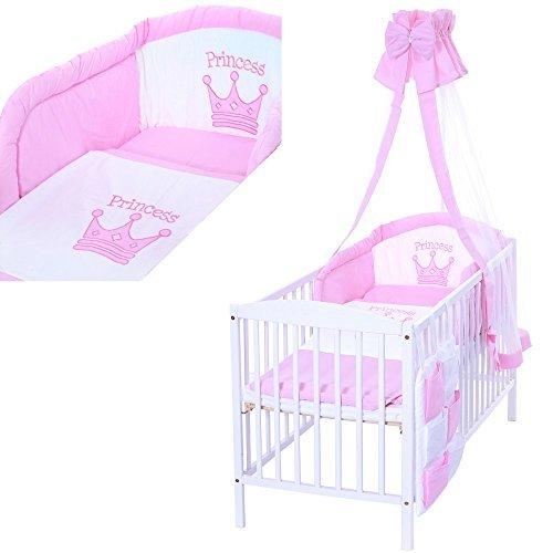 LCP Kids - 9 teiliges Baby Bettwäsche Komplettset mit Himmel, Nestchen - Baumwolle - geprüfte Textilien, Motiv gestickt: Prinzessin Krone (Elefanten Baby Mädchen Bettwäsche-sets)