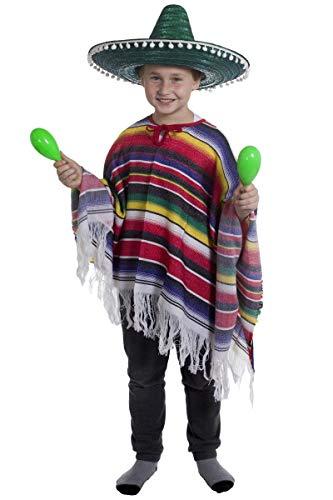 Jungen Kostüm Für Bandit - KINDER KOSTÜM-PONCHO MIT MEXIKO JUNGEN SOMBRERO, MIT WEISSEN POMPOMS WILD WEST BANDIT KID VON ILOVEFANCYDRESS ®