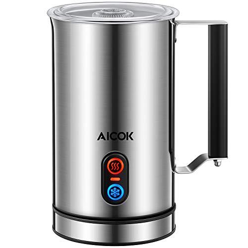 Aicok Espumador / Batidor de leche Eléctrico, Acero Inoxidable, 3 Modos Espumo Frío/ Caliente y Calentar, 115ml/ 240ml, 500W al Máximo, Apagado Automático, Espumador Leche para Cappuccino, Latte