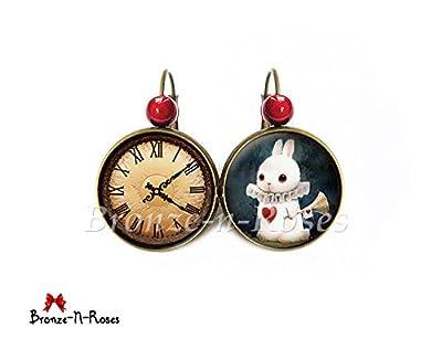 Boucles d'oreilles Lapin blanc Alice au pays des merveilles cabochon coeur rouge dormeuses