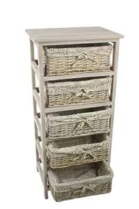 Meuble en bois 5 tiroirs paniers en osier avec housses amovibles cuisine maison - Meuble blanc avec panier osier ...