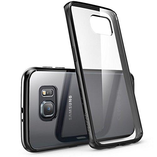 i-Blason Hülle Kompatibel für Samsung Galaxy S6 Edge Handyhülle Transparent Case Slim Schutzhülle Cover [Halo], Transparent/Schwarz