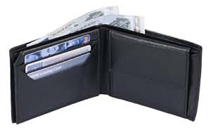 Portefeuille TOSCANA, cuir véritable, noir 12x10cm