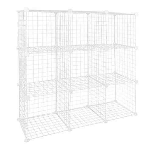 PrimeMatik - Armario Organizador Modular Estanterías de 9 Cubos de 35x35cm Metal Blanco