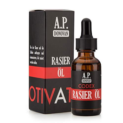 A.P. Donovan - Rasieröl für Herren | Nachhaltige Rasur | Hervorragend zum Rasieren der Bartkonturen | Sandelholz Duft | CODEX Bartpflege-Serie -