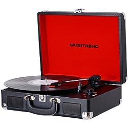 MUSITREND Platine Vinyle Tourne-Disques Valise Portable avec 2 Haut Parleurs IntéGréS, Noir