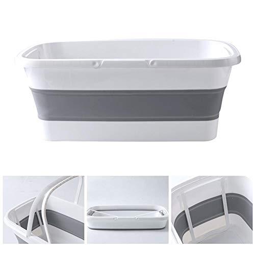 Clevoers Panier À Linge Pliable - Lave-Vaisselle Rectangulaire Pliable avec Poignée - Lave-Vaisselle pour Lavabo Portatif - pour La Pêche en Camping - 48x27x19cm
