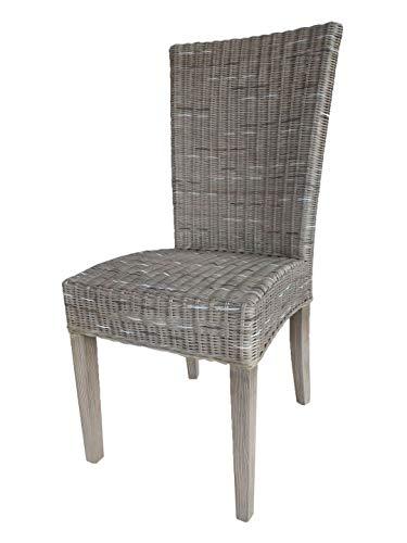 Casamia Rattan-Stuhl Esszimmerstuhl Cardine weiß oder braun Basalt ohne Sitzkissen, One Size