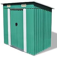 Zora Walter Caseta de jardín Verde Metal Estructuras de Exteriores Cobertizos, casetas y cabañas